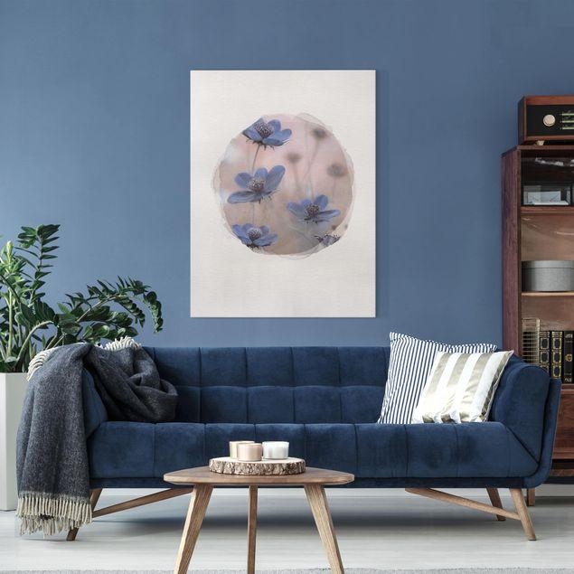 Leinwandbild - Wasserfarben - Blaue Kosmeen - Hochformat 4:3