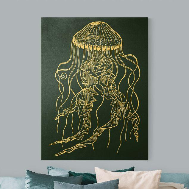 Leinwandbild Gold - Illustration tanzende Qualle auf Blau - Hochformat 3:4