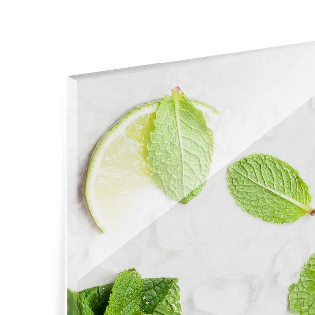 Glas Spritzschutz - Limetten Minze auf Eiswürfel - Quadrat - 1:1