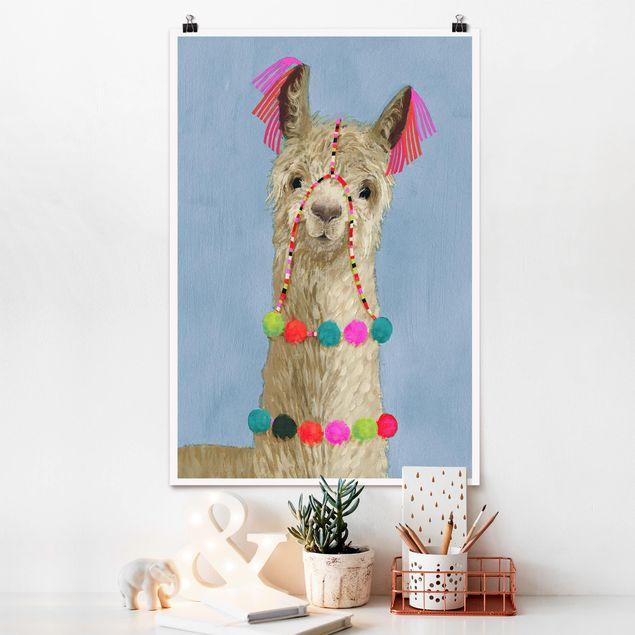 Poster - Lama mit Schmuck IV - Hochformat 3:2