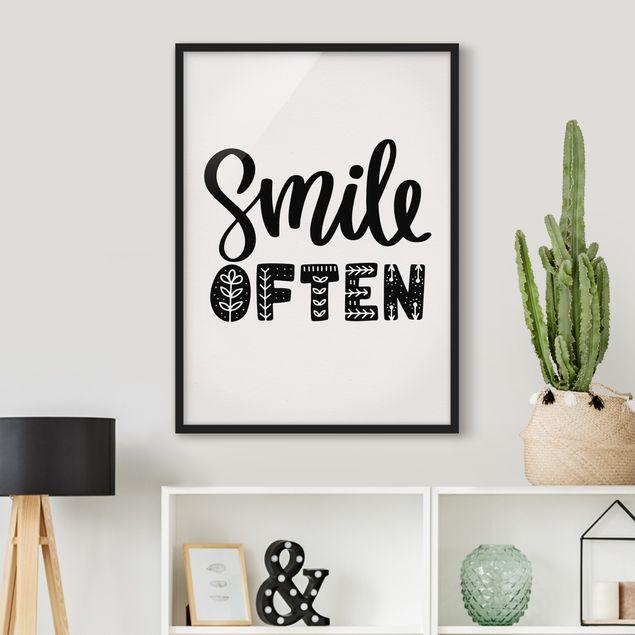 Bild mit Rahmen - Smile often - Hochformat 3:4