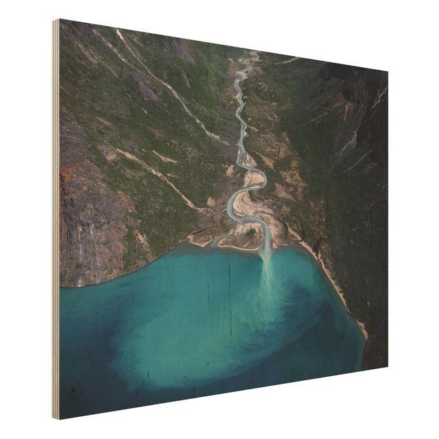 Holzbild - Fluss in Grönland - Querformat 3:4
