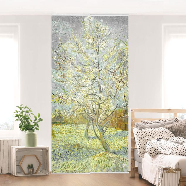 Schiebegardinen Set - Vincent van Gogh - Pfirsichbaum rosa - 3 Flächenvorhänge