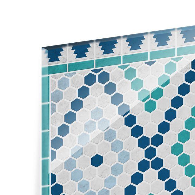 Glas Spritzschutz - Marokkanisches Fliesenmuster Türkis Blau - Querformat - 4:3