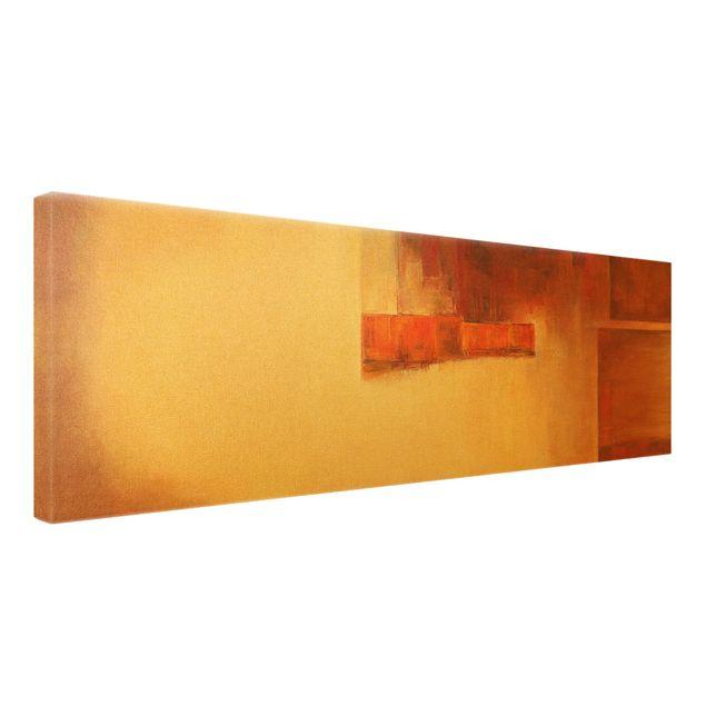 Leinwandbild Gold - Balance Orange Braun - Panorama 3:1