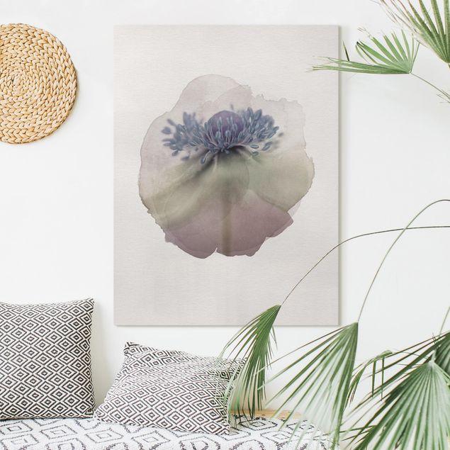 Leinwandbild - Wasserfarben - Anemone in Violett - Hochformat 4:3