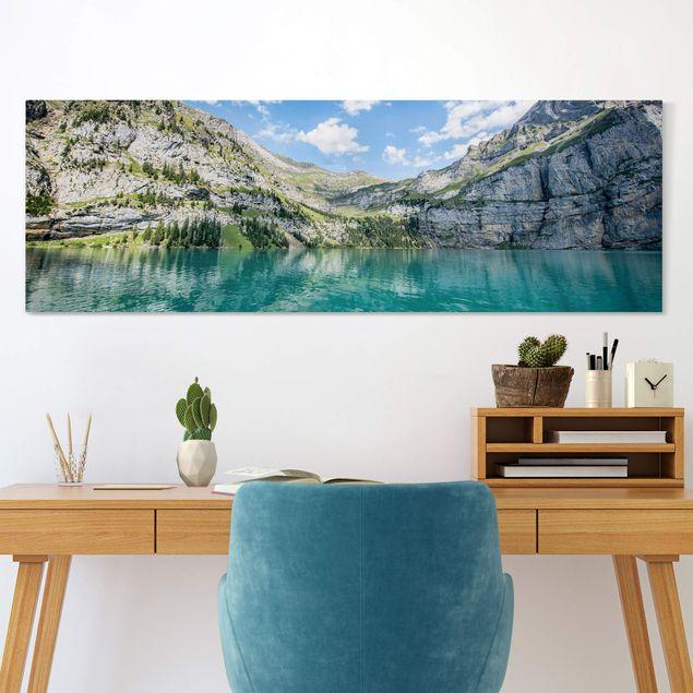 Leinwandbild - Traumhafter Bergsee - Panorama 3:1