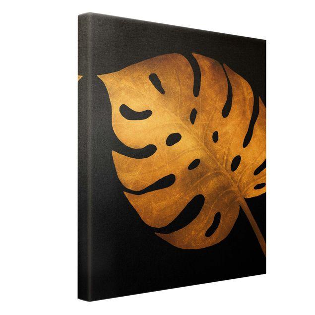 Leinwandbild Gold - Gold - Monstera auf Schwarz - Hochformat 3:4
