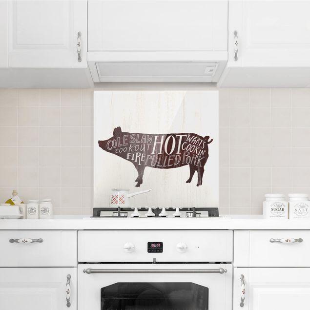 Glas Spritzschutz - Bauernhof BBQ - Schwein - Quadrat - 1:1