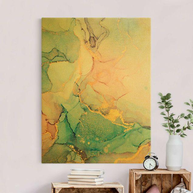 Leinwandbild Gold - Aquarell Pastell Bunt mit Gold - Hochformat 3:4