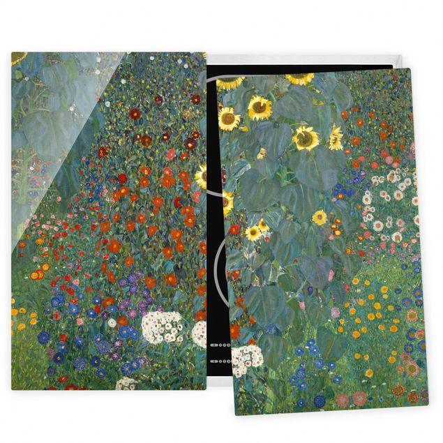 Herdabdeckplatte Glas - Gustav Klimt - Garten Sonnenblumen - 52x80cm