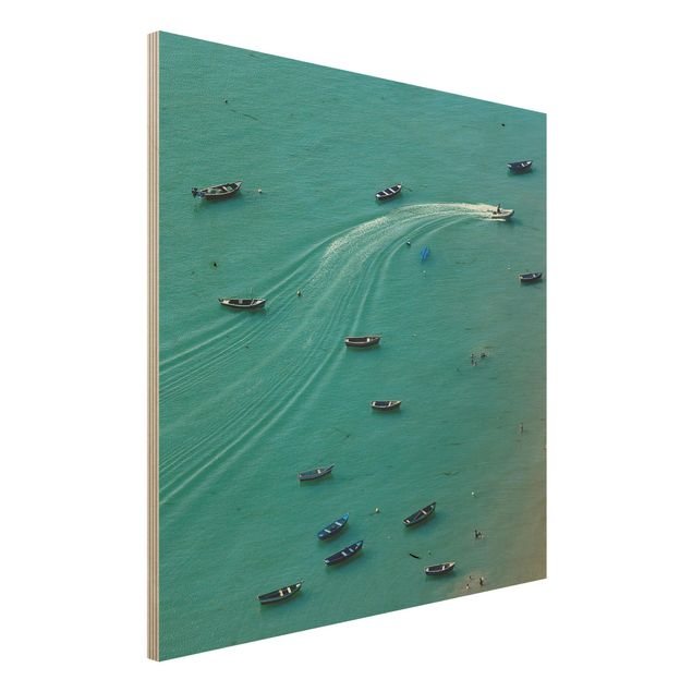Holzbild - Ankernde Fischerboote - Quadrat 1:1