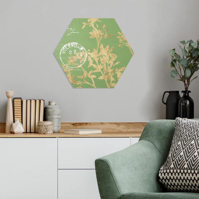 Hexagon Bild Forex - Goldene Blätter auf Lind II