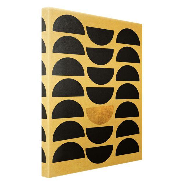 Leinwandbild Gold - Geometrischer Halbkreis II - Hochformat 2:3