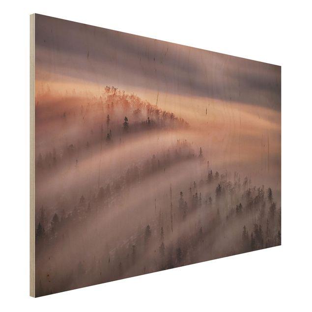 Holzbild - Nebelflut - Querformat 2:3