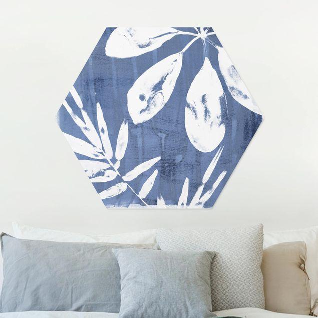 Hexagon Bild Alu-Dibond - Tropische Blätter Indigo I