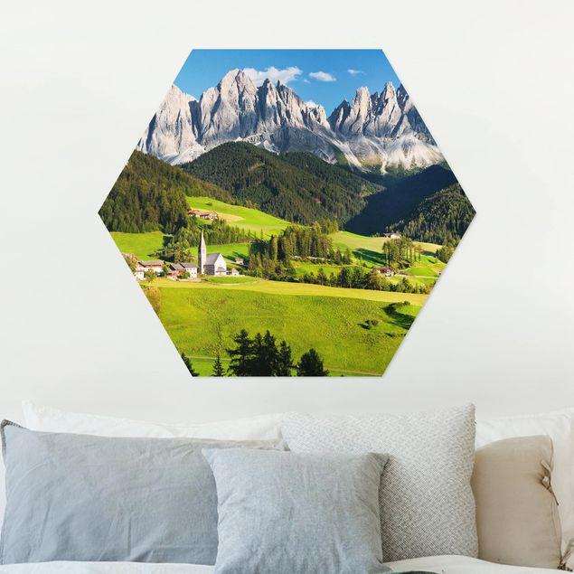 Hexagon Bild Alu-Dibond - Geislerspitzen in Südtirol