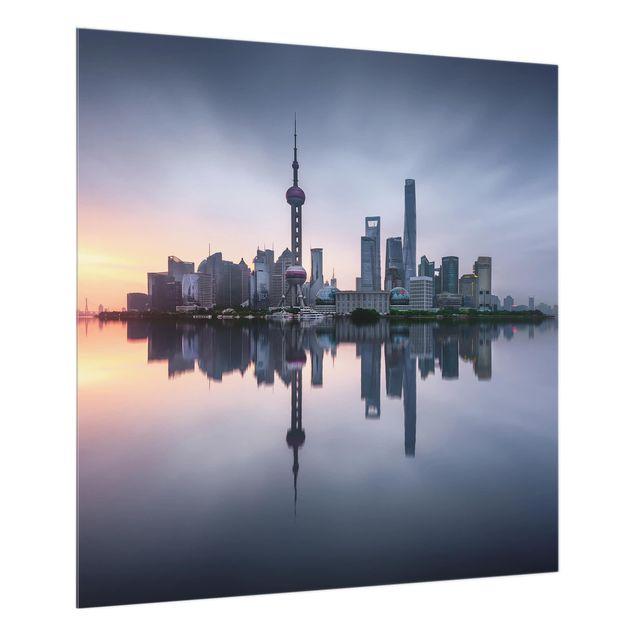 Glas Spritzschutz - Shanghai Skyline Morgenstimmung - Quadrat - 1:1