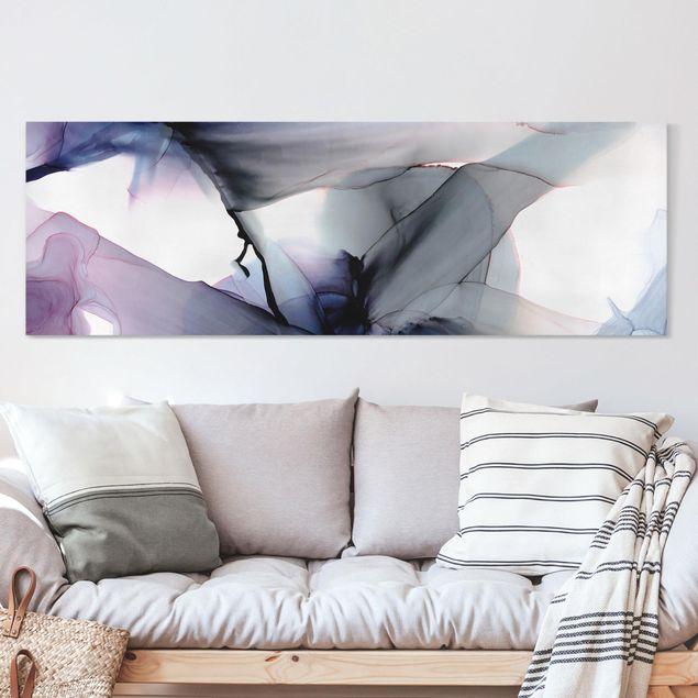 Leinwandbild - Violett im Fluss - Panorama 3:1