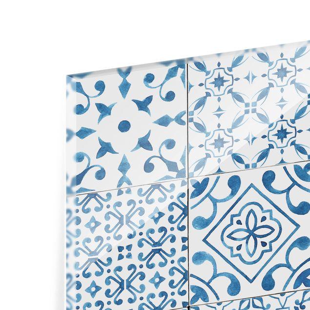 Glas Spritzschutz - Musterfliesen Blau Weiß - Quadrat - 1:1