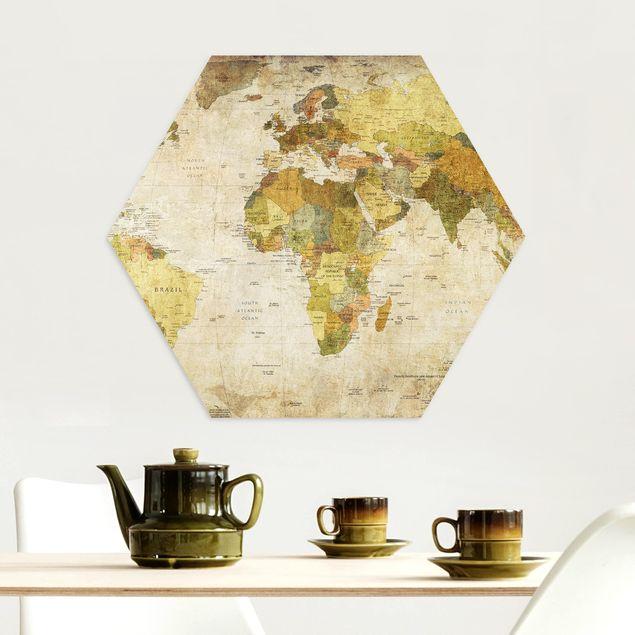Hexagon Bild Alu-Dibond - Weltkarte