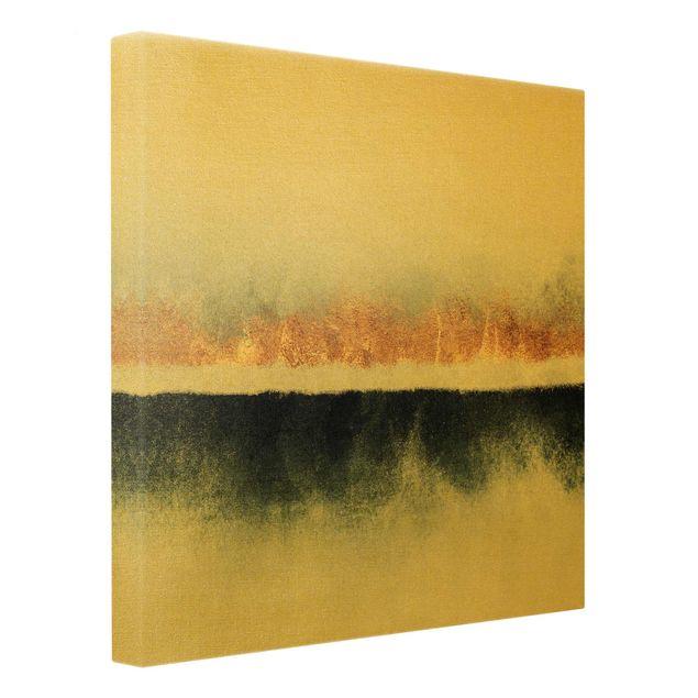 Leinwandbild Gold - Goldener Horizont Aquarell - Quadrat 1:1