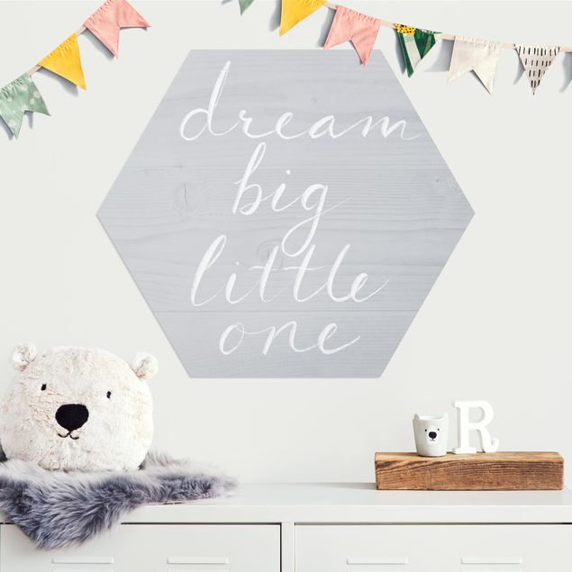 Hexagon Bild Alu-Dibond - Holzwand grau - Dream big