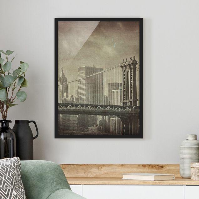 Bild mit Rahmen - Vintage New York - Hochformat 3:4