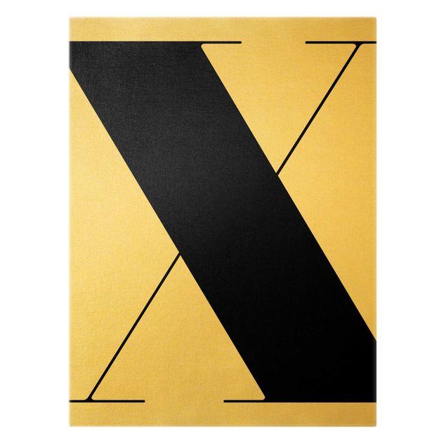 Leinwandbild Gold - Antiqua Letter X - Hochformat 3:4