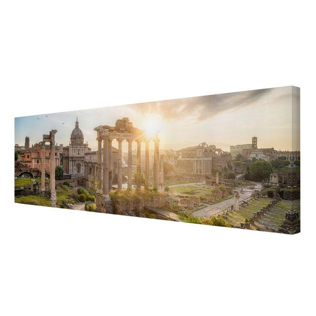 Leinwandbild - Forum Romanum bei Sonnenaufgang - Panorama 3:1