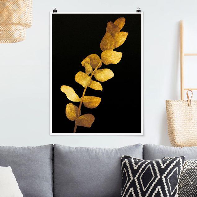 Poster - Gold - Eukalyptus auf Schwarz - Hochformat 4:3