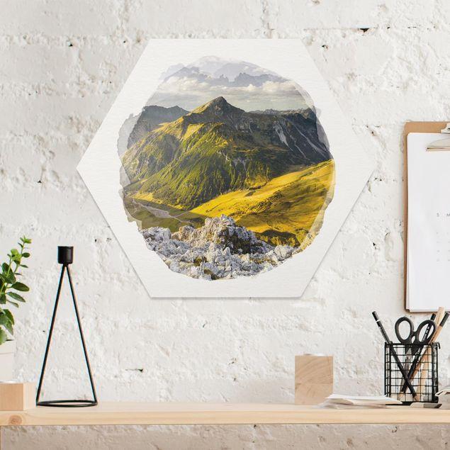 Hexagon Bild Forex - Wasserfarben - Berge und Tal der Lechtaler Alpen in Tirol