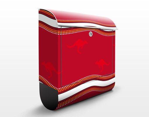Wandbriefkasten - Rotes Känguru Muster - Briefkasten Rot