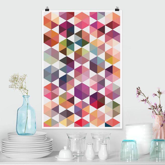 Poster - Hexagon Facetten - Hochformat 3:2