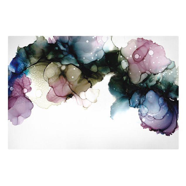 Leinwandbild - Blumenbogen mit Gold - Querformat 3:2