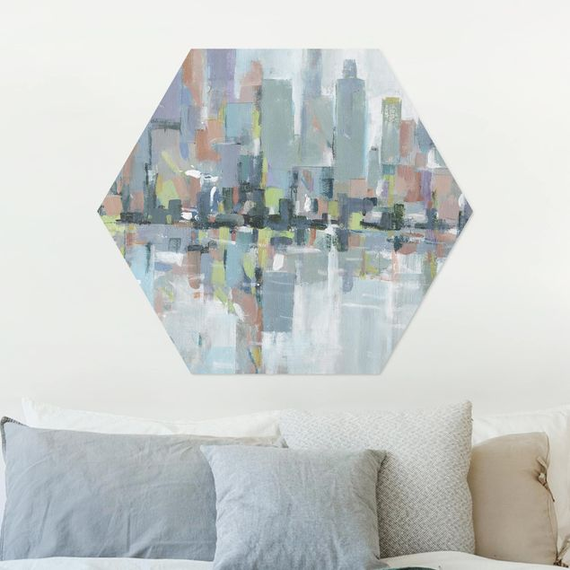 Hexagon Bild Alu-Dibond - Metro City I