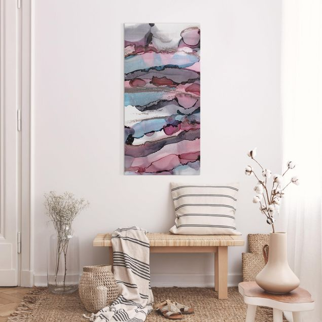 Leinwandbild - Wellenreiten in Violett mit Roségold - Hochformat 1:2