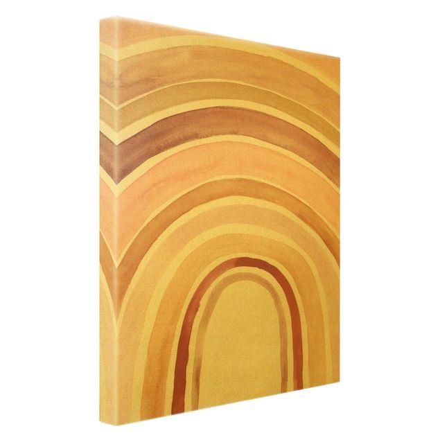Leinwandbild Gold - Aquarell Regenbogen Rosa - Hochformat 2:3
