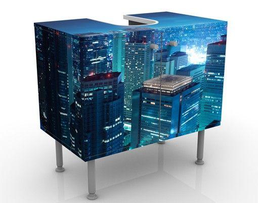 Waschbeckenunterschrank - Die Atmosphäre Tokios - Badschrank Blau
