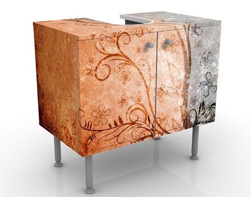 Waschbeckenunterschrank - Dignity - Vintage Badschrank Orange Rot