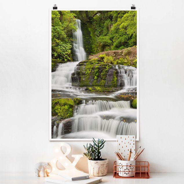 Poster - Upper McLean Falls in Neuseeland - Hochformat 3:2