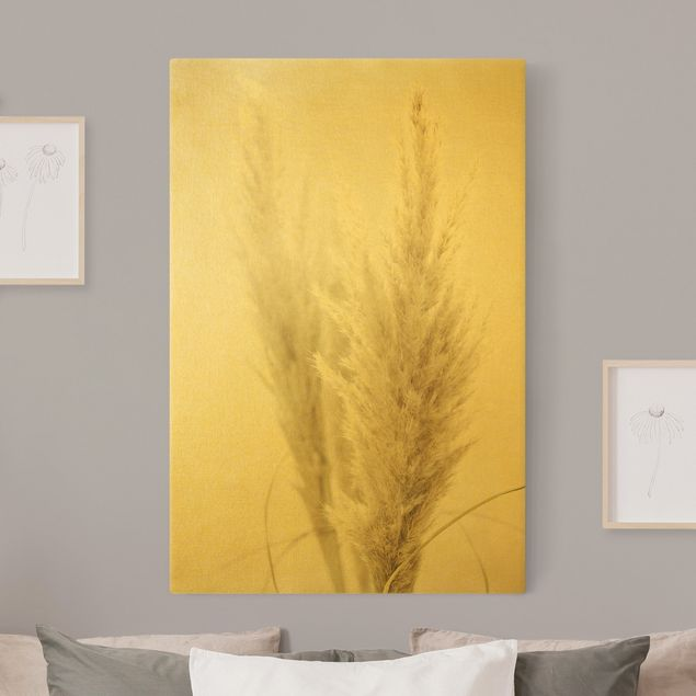 Leinwandbild Gold - Flauschiges Pampasgras - Hochformat 2:3