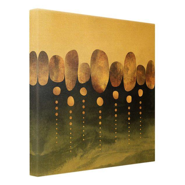Leinwandbild Gold - Abstrakte goldene Steine - Quadrat 1:1