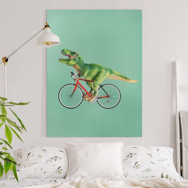 Leinwandbild - Jonas Loose - Dinosaurier mit Fahrrad - Hochformat 4:3