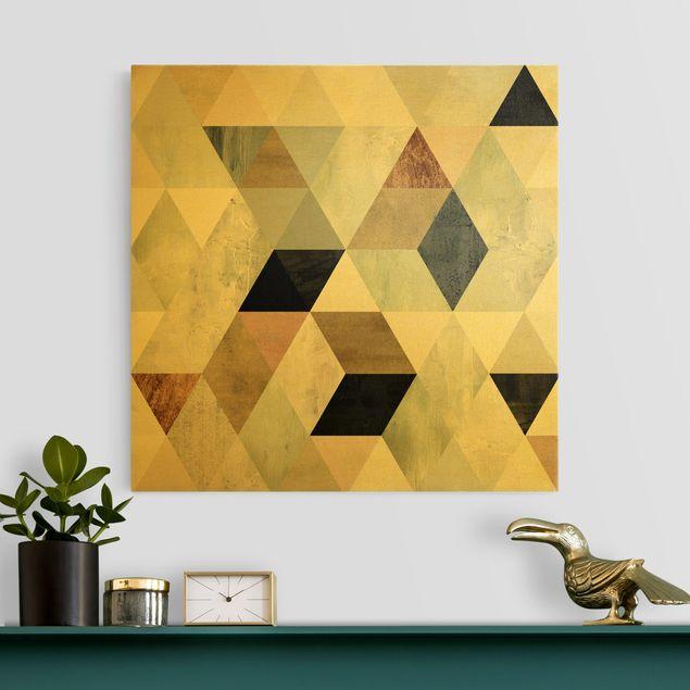 Leinwandbild Gold - Aquarell-Mosaik mit Dreiecken II - Quadrat 1:1