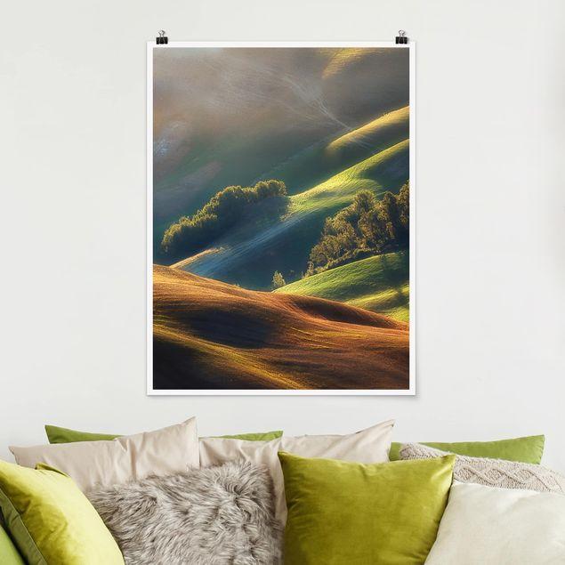 Poster - Toskana am Morgen - Hochformat 3:4
