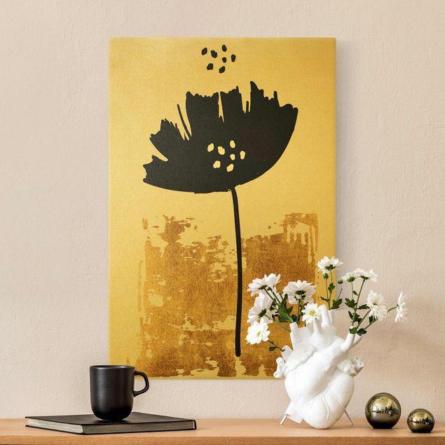 Leinwandbild Gold - Goldene Mohn Blume - Hochformat 2:3