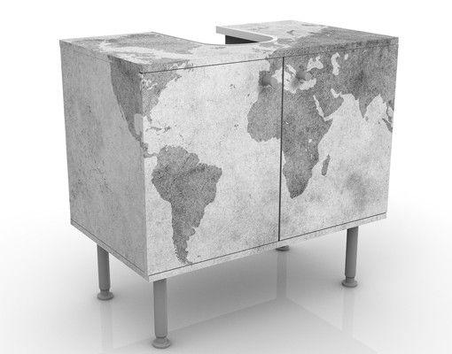 Waschbeckenunterschrank - Vintage Weltkarte II - Badschrank Weiß Grau