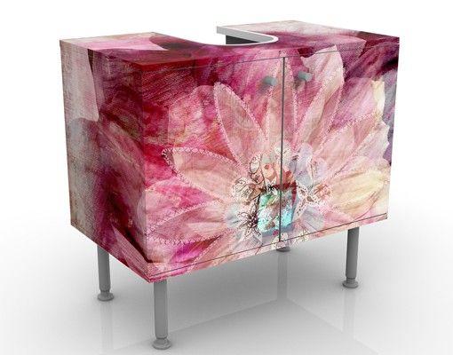 Waschbeckenunterschrank - Grunge Flower - Blumen Badschrank Rosa