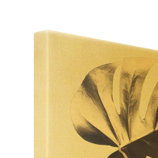 Leinwandbild Gold - Goldene Monsterablätter - Hochformat 2:3